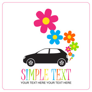 Abstract Vector Illustration With Car And Flowers.