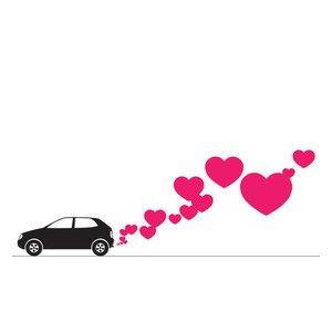 Abstract Vector Illustration With Car And Hearts.
