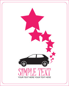 Abstract Vector Illustration With Car And Stars.