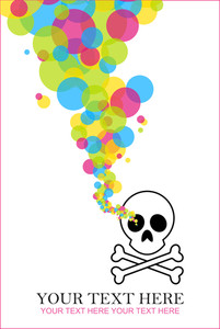 Abstract Vector Illustration With Cranium And Balloons.