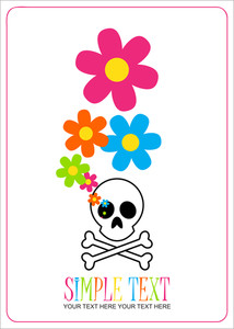 Abstract Vector Illustration With Cranium And Flowers.