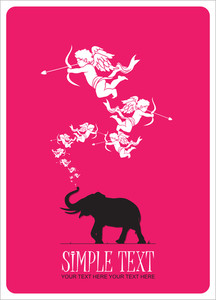 Abstract Vector Illustration With Elephant And Cupids.