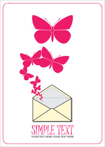 Abstract Vector Illustration With Envelope And Butterflies.