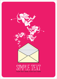Abstract Vector Illustration With Envelope And Cupid.