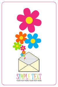 Abstract Vector Illustration With Envelope And Flowers.