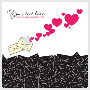 Abstract Vector Illustration With Envelope And Hearts.
