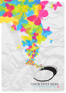 Abstract Vector Illustration With Manhole And Butterflies