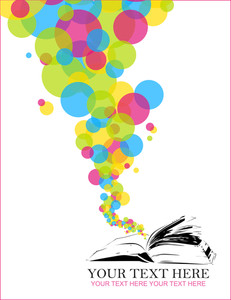 Abstract Vector Illustration With Opened Book And Balloons.