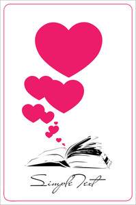 Abstract Vector Illustration With Opened Book And Hearts.