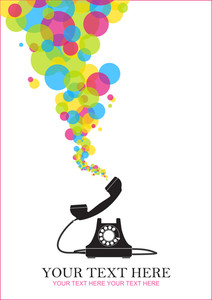 Abstract Vector Illustration With Retro Telephone And Balloons.