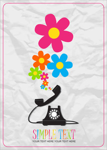 Abstract Vector Illustration With Retro Telephone And Flowers.