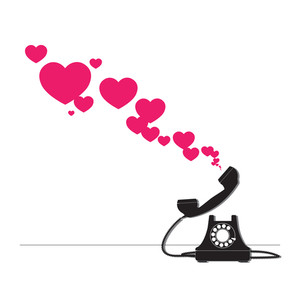 Abstract Vector Illustration With Retro Telephone And Hearts.