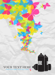 Abstract Vector Illustration With Spray Can And Butterflies.