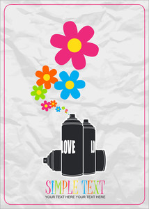 Abstract Vector Illustration With Spray Can And Flovers.
