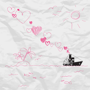 Abstract Vector Illustration With Steamship And Hearts On A Paper-background.