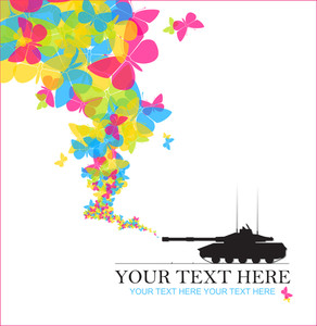 Abstract Vector Illustration With Tank And Butterflies.