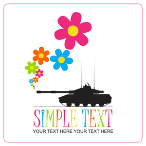 Abstract Vector Illustration With Tank And Flowers.