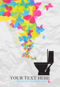 Abstract Vector Illustration With Toilet Bowl And Butterflies.