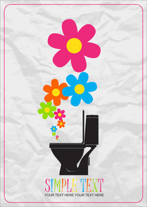 Abstract Vector Illustration With Toilet Bowl And Flowers.