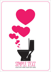Abstract Vector Illustration With Toilet Bowl And Heart.