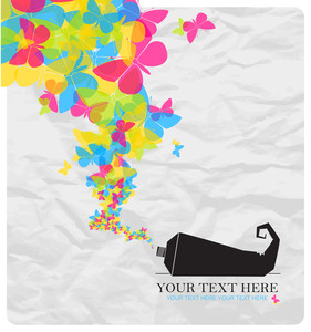 Abstract Vector Illustration With Tube And Butterflies.