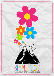 Abstract Vector Illustration With Volcano And Flowers.