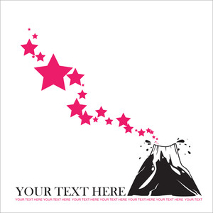 Abstract Vector Illustration With Volcano And Stars.