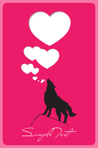 Abstract Vector Illustration With Wolf And Hearts.