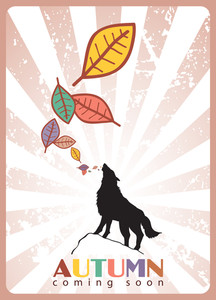 Abstract Vector Illustration With Wolf And Leafs.