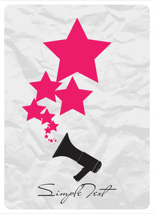 Abstract Vector Ilustration Of Megaphone And Stars.