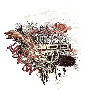 Abstract Vector Ilustration With Gun And Wings