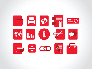 Abstract Vector Red Icons Element Illustrations