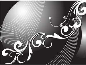 Abstract Vector Wallpaper Of Floral Themes In Black