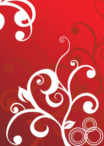 Abstract Vector Wallpaper Of Floral Themes In Red
