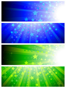 Abstract Web Banners Set Vector Illustration