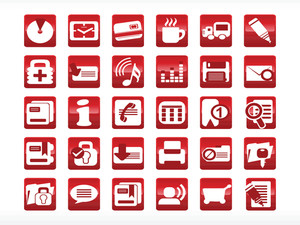 Abstract Web Icon Set Series Red