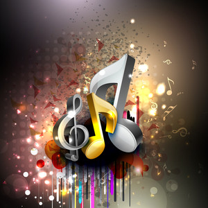 Abstract With Musical Note On Shiny Background .