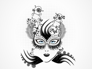 Abstract Women Mask With Black And White Feathers