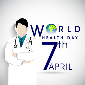Abstract World Heath Day Concept With Doctor And Stylish Text On Grey Background.