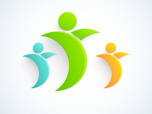 Abstract World Heath Day Concept With Eco Persons On Grey Background.
