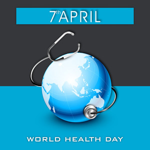 Abstract World Heath Day Concept With Globe On Blue And Grey Background.