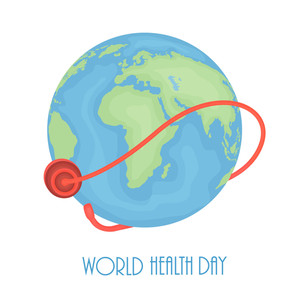 Abstract World Heath Day Concept With Globe On Grey Background.