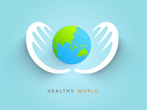 Abstract World Heath Day Concept With Globe Protected By Human Hands On Blue Background.