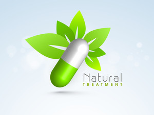 Abstract World Heath Day Concept With Green Leaves And Medical Pill On Blue Background.