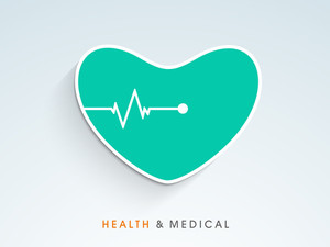 Abstract World Heath Day Concept With Heart Shape And Heart Beat On Blue Background.