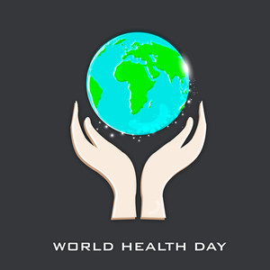 Abstract World Heath Day Concept With Human Hands Protected Globe On Grey Background.