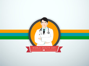Abstract World Heath Day Concept With Illustration Of A Doctor On Blue And Colorful Lines Background.
