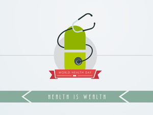 Abstract World Heath Day Concept With Medical Pill And Setescope On White Background.