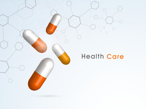 Abstract World Heath Day Concept With Medical Pills On Blue Background.