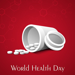 Abstract World Heath Day Concept With Medical Pills On Red Background.